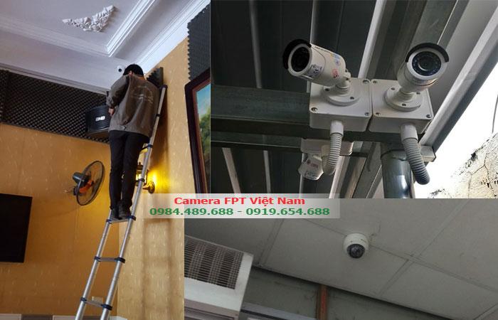 Nhân viên FPT lắp đặt camera tại nhà