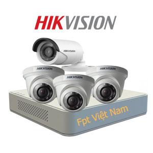 Lắp đặt 4 camera Hikvision giá rẻ 1.0MP